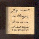 Rubber Stamp - Scrapbooking - Wood Mount  New  Stampin Up  Joy Quote 1.25 X 1 ""