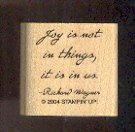 """Rubber Stamp - Scrapbooking - Wood Mount  New  Stampin Up  Joy Quote 1.25 X 1 """""""