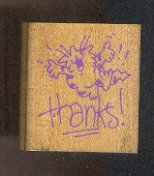 """Rubber Stamp Scrapbooking Wood Mounted - New - Sillly Cat w  Thanks !  1.5 X 1.5"""""""