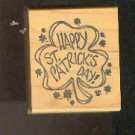 Rubber Stamp Scrapbooking Wood Mounted - Used - Shamrock w Happy St. Patrick's Day 2X2""