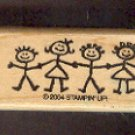 Rubber Stamp Scrapbooking - Wood Mounted - New - Stampin Up - Stick Kids - 1 X 2""