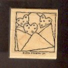 Rubber Stamp Scrapbooking - Wood Mount - New - Stampin Up - Hearts in envelope 1.5X1.5""