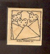 """Rubber Stamp Scrapbooking - Wood Mount - New - Stampin Up - Hearts in envelope 1.5X1.5"""""""