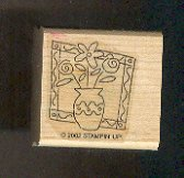 """Rubber Stamp Scrapbooking - Wood Mounted - New - Stampin Up -Vase Flowers 1.5 X 1.5"""""""