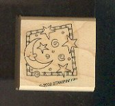 """Rubber Stamp Scrapbooking - Wood Mount - New - Stampin Up - Moon & Stars 1.5 X 1.5"""""""