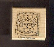 """Rubber Stamp Scrapbooking - Wood Mounted - New - Stampin Up - Birthday Cake 1.5 X 1.5"""""""