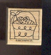 """Rubber Stamp Scrapbooking - Wood Mount - New - Stampin Up - Basket Easter Eggs - 1.5X1.5"""""""