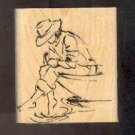 Rubber Stamp Scrapbooking - Wood Mounted - New - Stampin Up - Girl on a Dock 2X2.5""
