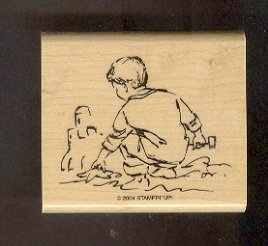 """Rubber Stamp Scrapbooking - Wood Mount - New - Stampin Up -  Boy at Beach 2.5X3"""""""