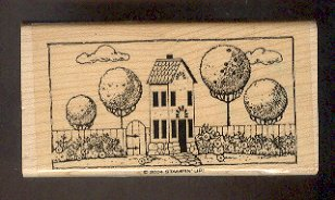 """Rubber Stamp Scrapbooking - Wood Mounted - New - Stampin Up - House w Trees 2 X 4"""""""