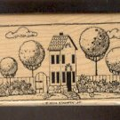 Rubber Stamp Scrapbooking - Wood Mounted - New - Stampin Up - House w Trees 2 X 4""