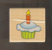 Rubber Stamp Scrapbooking - Wood Mount - New - Sarah Beise - Birthday Cupcake  2X2""