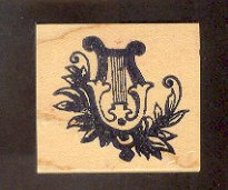 Rubber Stamp Scrapbooking - Wood Mount - New - Starlight Express Stamps - Irish Harp - 2X2""