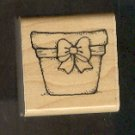 Rubber Stamp Scrapbooking - Wood Mount - D.O.T.S. - New - Flower Pot 1.5 X 1.5""