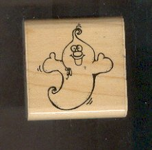 Rubber Stamp Scrapbooking - Wood Mount - New - D.O.T.S. - Goofy Ghost - 2X2""