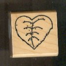 Rubber Stamp Scrapbooking - Wood Mount - New - D.O.T.S. - Leaf Heart 1.5X1.5""