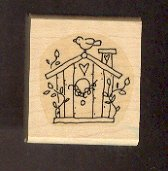 "Rubber Stamp Scrapbooking - Wood Mount - Stampin U p  - Used - Birdhouse 1.5X1.5"""