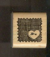 """Rubber Stamp Scrapbooking - Wood Mount - Used - D.O.T.S. - Heart Button 1.5X1.5"""""""