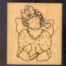 Rubber Stamp Scrapbooking - Wood Mount - Used - D.O.T.S. - Patchwork Angel Emily 3.5X3""