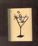 Rubber Stamp Scrapbooking - Wood Mount - Used - A Muse Stamps - Martini .75X1.25""
