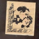 Rubber Stamp Scrapbooking - Wood Mount - Stampington Co - Used - Man & Woman 2.X2.5""