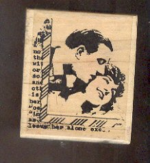 """Rubber Stamp Scrapbooking - Wood Mount - Stampington Co - Used - Man & Woman 2.X2.5"""""""