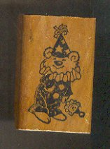 Rubber Stamp Scrapbooking - Wood Mount - Used - Vintage Clown 1.5X2""