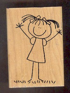 """Rubber Stamp Scrapbooking - Wood Mount -  Used - Scrappers - Cute Girl 3X4"""""""