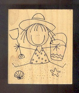 """Rubber Stamp Scrapbooking - Wood Mount - Used - Scrappers - Girl at the beach - 3X3.5"""""""