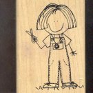 Rubber Stamp Scrapbooking - Wood Mount - Used - Scrappers - Camera Girl 3X4""