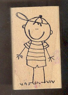 """Rubber Stamp Scrapbooking - Wood Mount - Used - Scrappers - Cute Boy 2X4"""""""