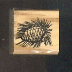 Rubber Stamp Scrapbooking - Wood Mount - New - Stampin Up - Pine Cone - 1X 1""