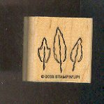 Rubber Stamp Scrapbooking - Wood Mount - New - Stampin Up - Three Leaves - 1X1""