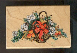 """Rubber Stamp Scrapbooking - Wood Mount - Used - Stampendous - Flowers & Fruit BAsket 2.5 X 4"""""""