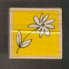 Rubber Stamp Scrapbooking - Wood Mount - New - Vap Scrap Stamp - Daisy with stem 2X2""