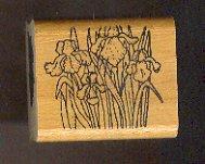 "Rubber Stamp Scrapbooking - Wood Mount - Used - Vintage -  Group of Iris Flowers 1.5 X 1.5"""