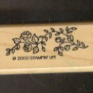 Rubber Stamp Scrapbooking - Wood Mount - Used - Stampin Up - Rose Vine 1X2""