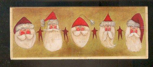 """Rubber Stamp Scrapbooking - Wood Mount - New - Stamps Happen - Five Santas 2.25X6.5"""""""