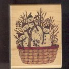 Rubber Stamp Scrapbooking - Wood Mount - Used - Stampington - Basket Snowmen 2X2.5""