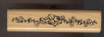 Rubber Stamp Scrapbooking - Wood Mount - Stampin Up  -  Unused - Rose Vine Border 1X4.5""