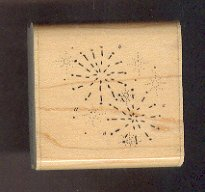 Rubber Stamp Scrapbooking - Wood Mount - D.O.T.S. - Used - Fireworks 2X2""