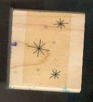 Rubber Stamp Scrapbooking - Wood Mount - Used - Stampin Up - Star Twinkles - 2X2""
