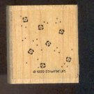 Rubber Stamp Scrapbooking - Wood Mount - Used - Stampin Up  - Confetti Flowers  - 2X2""