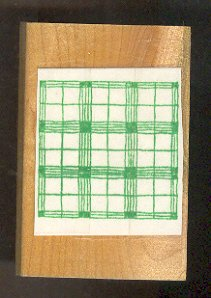 """Rubber Stamp Scrapbooking - Wood Mount - Used - Windowpane Plaid 2X2"""""""