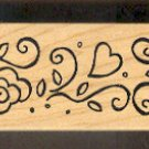 """Rubber Stamp Scrapbooking - Wood Mount - Used  - Great Impressions - Flower Border 1.25X5.5"""""""