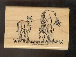 """Rubber Stamp Scrapbooking - Wood Mount - New - Stampin Up - Grazing Horses 2X3"""""""
