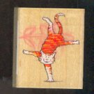 Rubber Stamp Scrapbooking - Wood Mount - New - All Night Media - Acrobat Cat 1.5X2""