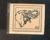 Rubber Stamp Scrapbooking - Wood Mount - Used - Elephant Head Stamp 1.5X1.5""