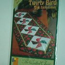 "Sewing Pattern Quilted Closet Twirly Bird tablerunner 17X55"" Nice."