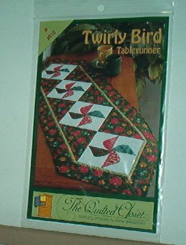 "Sewing Pattern Quilted Closet Twirly Bird tablerunner 17X55"" Nice."